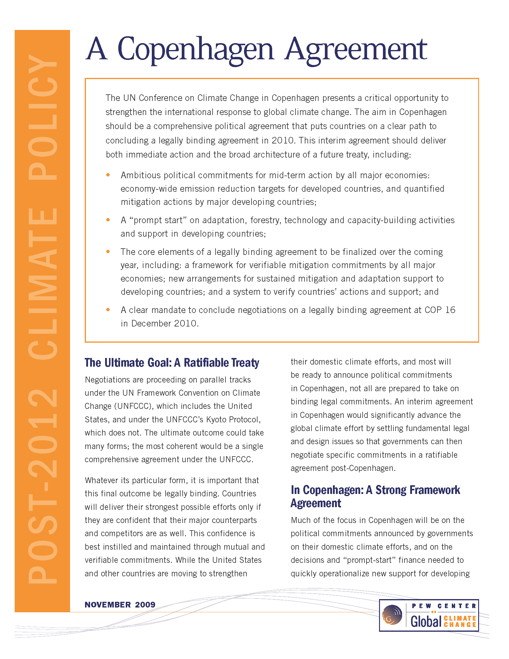 A Copenhagen Climate Agreement Center For Climate And Energy Solutions - Legally binding document