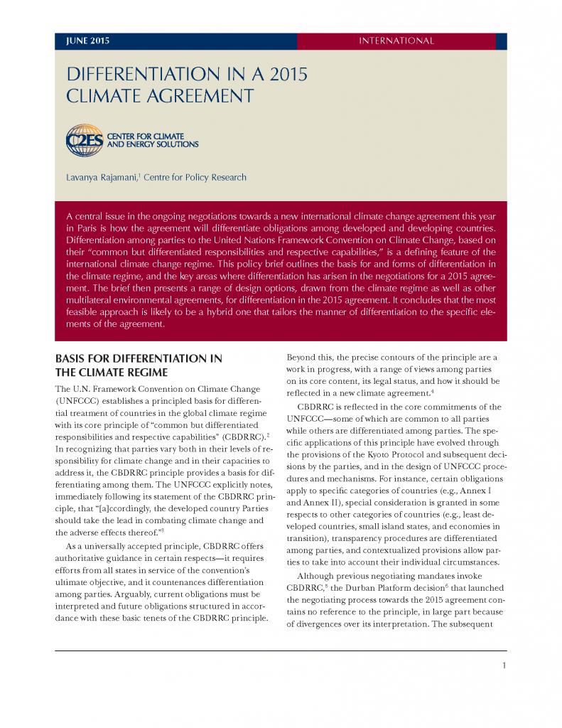 Differentiation in a 2015 climate agreement center for climate and differentiation in a 2015 climate agreement center for climate and energy solutions platinumwayz