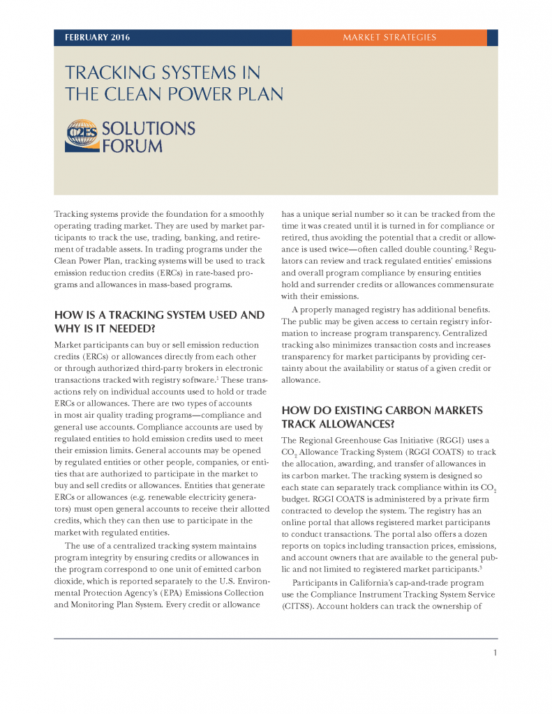 Tracking Systems in the Clean Power Plan — Center for Climate and ...
