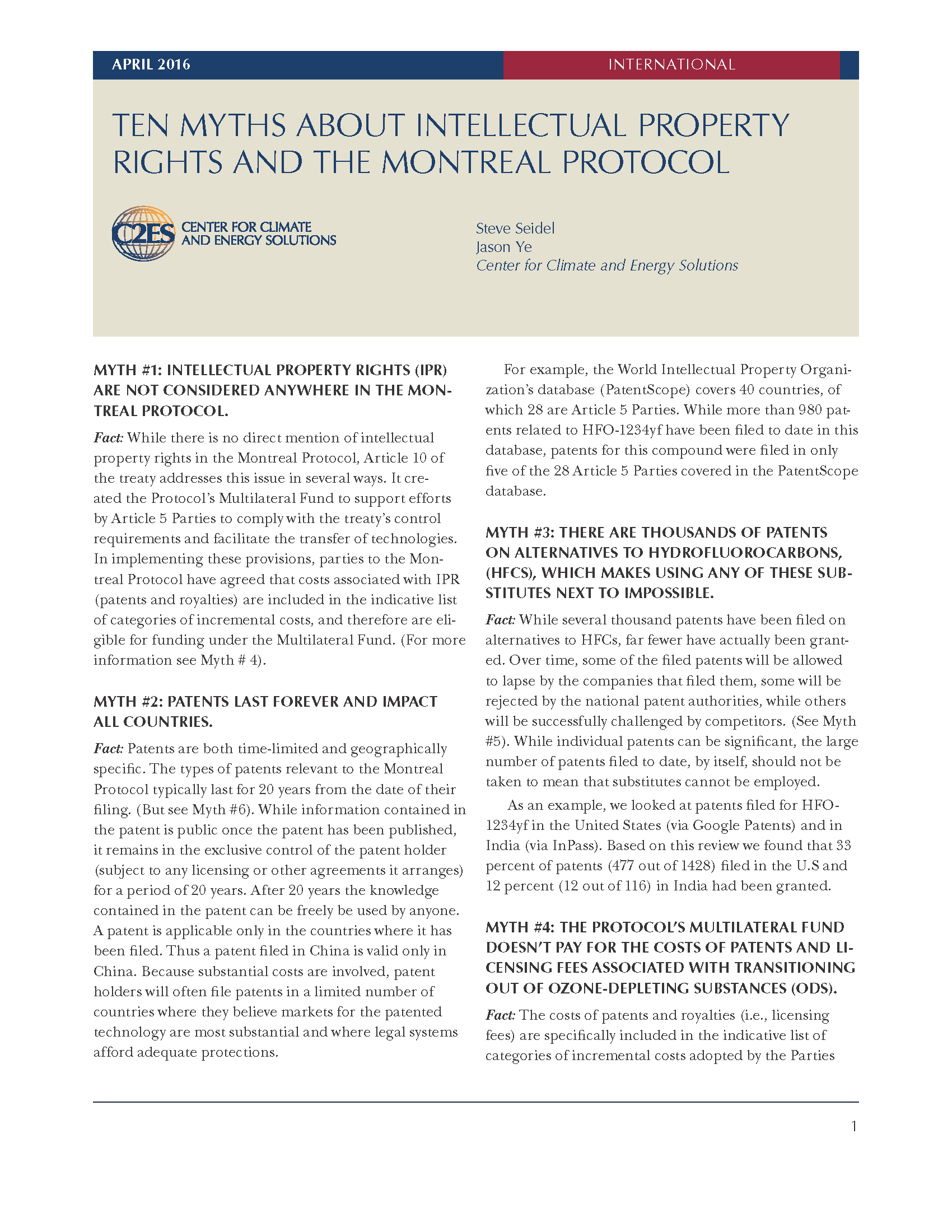 Ten Myths About Intellectual Property Rights Montreal Protocol Cover