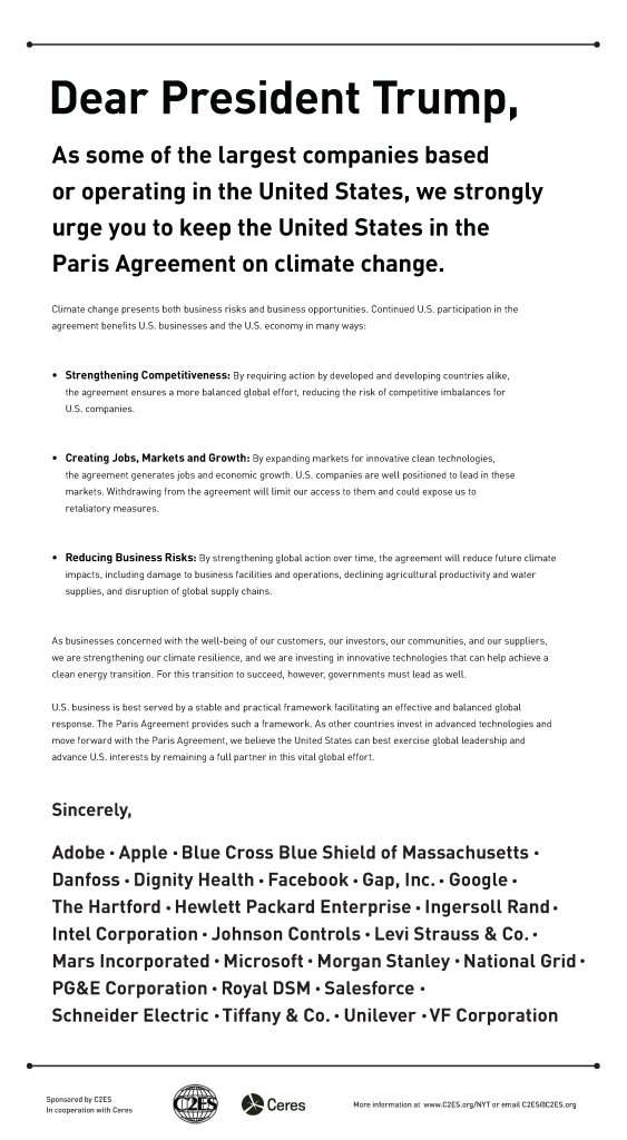 Business Support For The Paris Agreement Center For Climate And