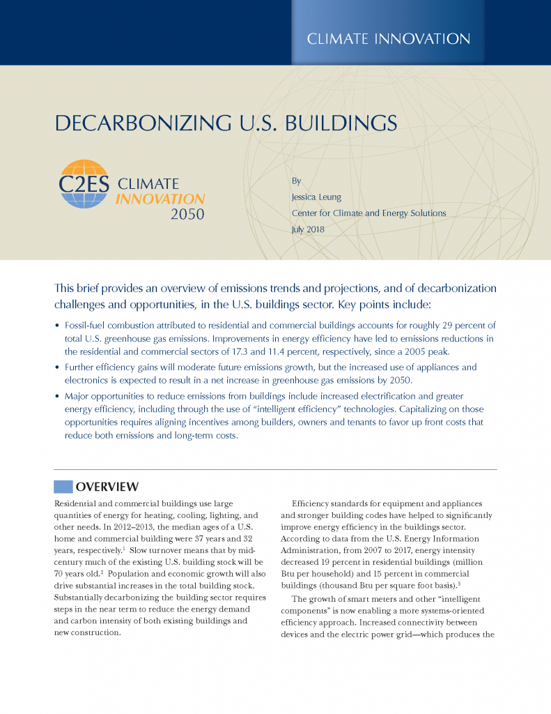 Decarbonizing U S  Buildings | Center for Climate and Energy